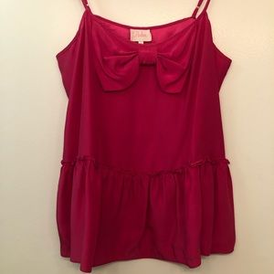 hot pink silk top